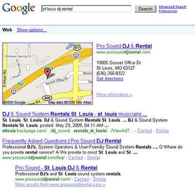 Search Results Example of Pro Sound DJ Rental in St. Louis, MO